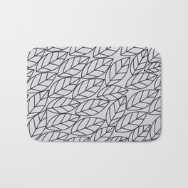Doodle Leaves Light Grey and Navy Bath Mat