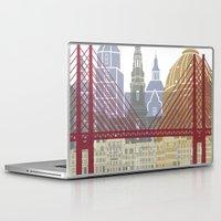 copenhagen Laptop & iPad Skins featuring Copenhagen skyline poster by Paulrommer
