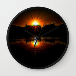 Sunset on The Wisconsin river Wall Clock