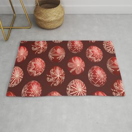 Realistic easter red dyed eggs pysanka Rug