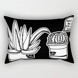 Don't Be a Prick Cacti Dude - Black and White Trendy Illustration Rectangular Pillow