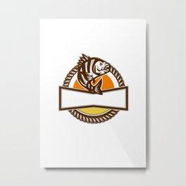 Sheepshead Fish Rope Circle Retro Metal Print