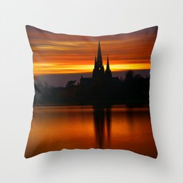 Fiery Sunset Reflection At The The Lichfield Cathedral Throw Pillow