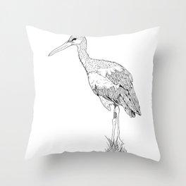 Stork illustration Throw Pillow