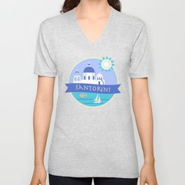 Santorini Greece Badge Unisex V-Neck