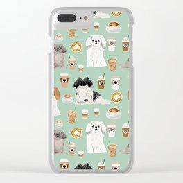 Pekingese dog breed dog pattern pet portraits coffee food dog breeds pet friendly Clear iPhone Case