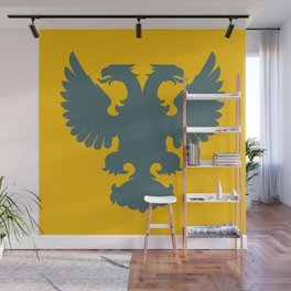blue-gray double-headed eagle on yellow background Wall Mural