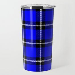 Solid blue #0000ff color themed plaid SCOTTISH TARTAN Checkered Fabric Pattern texture background Travel Mug