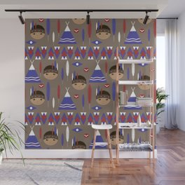 Seamless kids cute American indian native retro background pattern Wall Mural