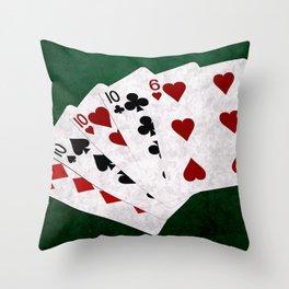 Poker Four Of A Kind Ten Six Throw Pillow