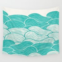 calm Wall Tapestries featuring The Calm and Stormy Seas by Pom Graphic Design