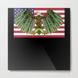 US American flag with artistic Eagle Metal Print