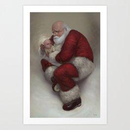 Santa Holding Baby Jesus Art Print