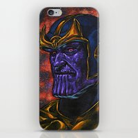 thanos iPhone & iPod Skins featuring Marvel Thanos Infinity Gauntlet by Adam Worley