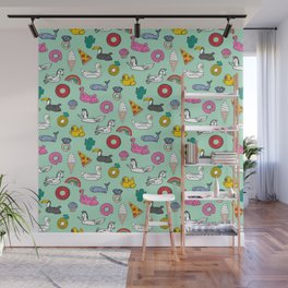 Pool floats fun summer holiday pool party pattern Wall Mural