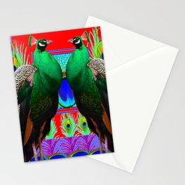 GREEN PEACOCKS & RED-PURPLE  MODERN ART Stationery Cards