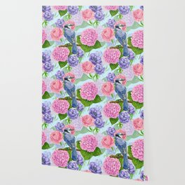 Blue jay and flowers watercolor pattern Wallpaper