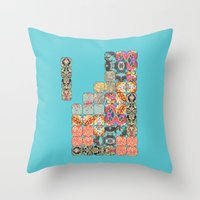 tetris Throw Pillows featuring TETRIS by Bianca Green