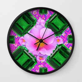 May Green Emerald Gems & Pink Roses Fuchsia Art Wall Clock