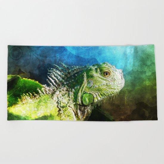 Blue And Green Iguana Profile Beach Towel
