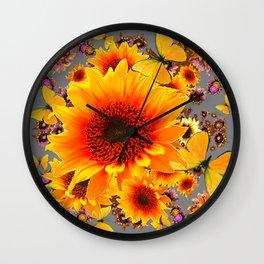 GOLDEN SUNFLOWER BUTTERFLIES MODERN GREY ART DESIGN Wall Clock