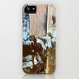 Compelling: a minimal, abstract mixed-media piece in gold, pink, black and white by Alyssa Hamilton iPhone Case