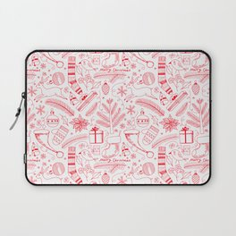 Doodle Christmas pattern red Laptop Sleeve