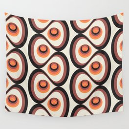Orange, Brown, and Ivory Retro 1960s Circular Pattern Wall Tapestry