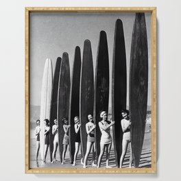 Surfers, Vintage Black and White Art Serving Tray