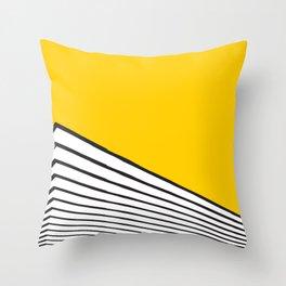 Minimal geometric yellow black modern Throw Pillow