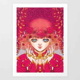 BLOOM Pink Flower Girl Art Print