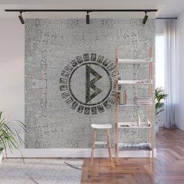Berkana Rune and Alphabet on Birch Wall Mural
