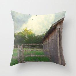 Rustic Summer Barnyard Throw Pillow