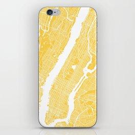 Manhattan map yellow iPhone Skin