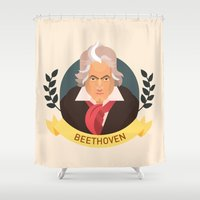beethoven Shower Curtains featuring Beethoven by Espaco Ilusório