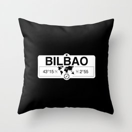 Bilbao Basque Country with World Map GPS Coordinates Throw Pillow