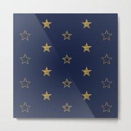 Golden Dust Stars | Pattern Art Metal Print