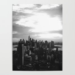 New York City Skyline in Black and White Poster