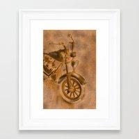 motorbike Framed Art Prints featuring motorbike grunge by Christine baessler