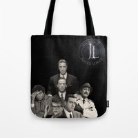 justice league Tote Bags featuring DC Justice League... not only for comics by ItalianLeo