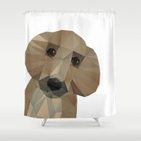 pooh Shower Curtains featuring Hallo! My name is Doggy-Pooh by cafelab