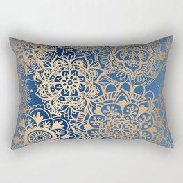 Blue and Gold Mandala Pattern Rectangular Pillow