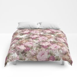 Vintage blush pink burgundy roses floral painting Comforters