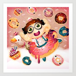 Donuts and Swan Lake Art Print