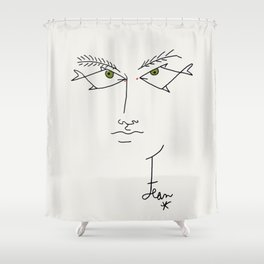 Poster-Jean Cocteau-Linear drawings-Fish eyes. Shower Curtain
