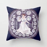 leia Throw Pillows featuring Leia by NicoleGrahamART