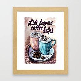 Coffee watercolor art Framed Art Print