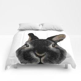 Netherland Dwarf rabbit Black, illustration original painting print Comforters
