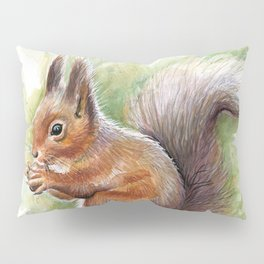 Squirrel and Nut Forest Animals Watercolor Pillow Sham