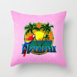 Pink Hawaii Sunset Throw Pillow
